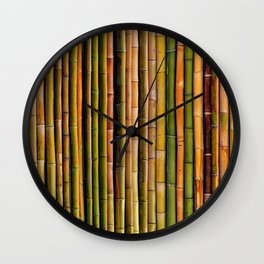 Bamboo fence, texture Wall Clock