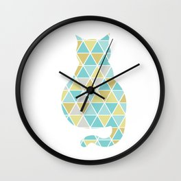 Single Cat Triangulation Wall Clock