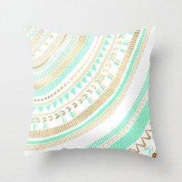 Mint + Gold Tribal Throw Pillow