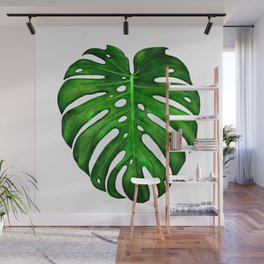 Monstera Leaf Paintings Wall Mural