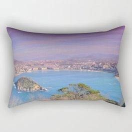 La Concha Bay seen from Igeldo Mount. Rectangular Pillow