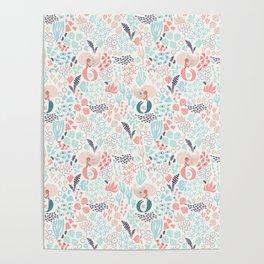Coral and mermaid hand drawn digital pattern Poster