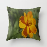 rileigh smirl Throw Pillows featuring Orange Flower by Rileigh Smirl