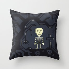 Skeleton boy artwork Throw Pillow