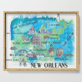 New Orleans Louisiana Favorite Travel Map with Touristic Highlights in colorful retro print Serving Tray