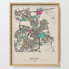 Colorful City Maps: Nicosia, Cyprus Serving Tray