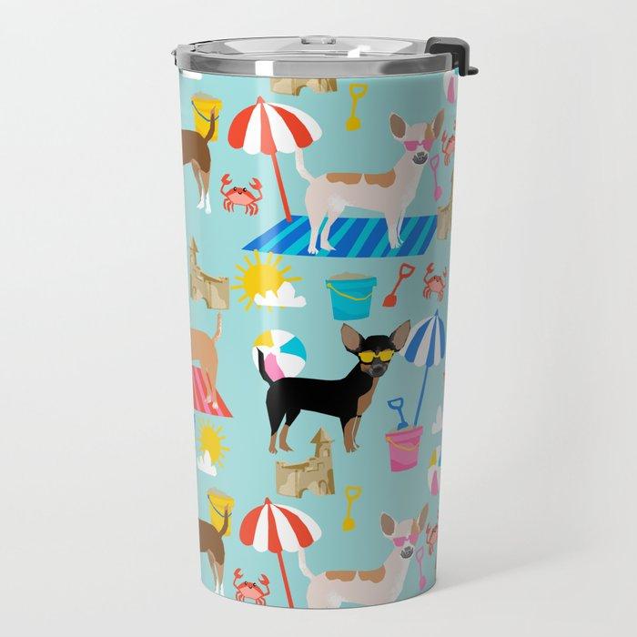 Miniature Doberman Pinscher dog beach day summer fun dog lover min pin Travel Mug