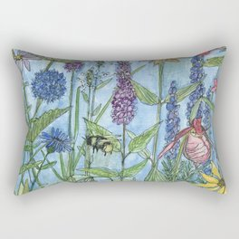 Watercolor Garden Flower Botanical Wildflowers Lady Slipper Orchid Rectangular Pillow