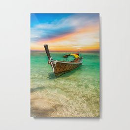 Longboat Sunset Thailand Metal Print