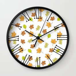 Autumn leaves, falling leaves, colorful leaves, fall season, seasonal beauty, leaf Pattern Wall Clock