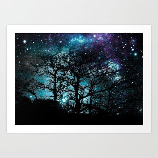 Black Trees Teal Violet space Art Print