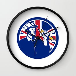 British Power Lineman Union Jack Flag Icon Wall Clock