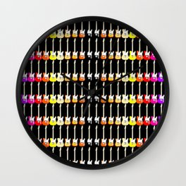 Electric Guitar Rainbow (On Black) Wall Clock