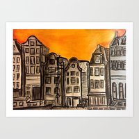 Amsterdam Sunset Acrylic Painting Art Print