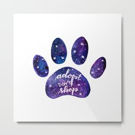 Adopt don't shop galaxy paw - purple Metal Print
