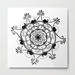 Paisley-Spiral Mandala Metal Print