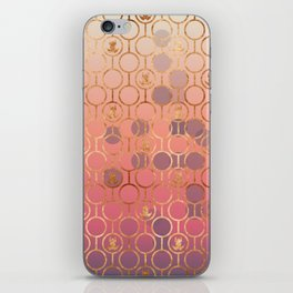 Metal pattern with pink bubble and copper frogs iPhone Skin