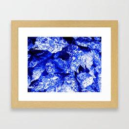 Speckled Blue & White Leaves Framed Art Print