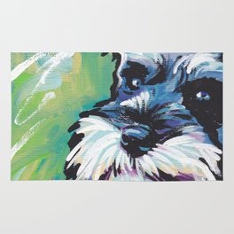 Fun Schnauzer Dog Portrait bright colorful Pop Art Painting by LEA Rug