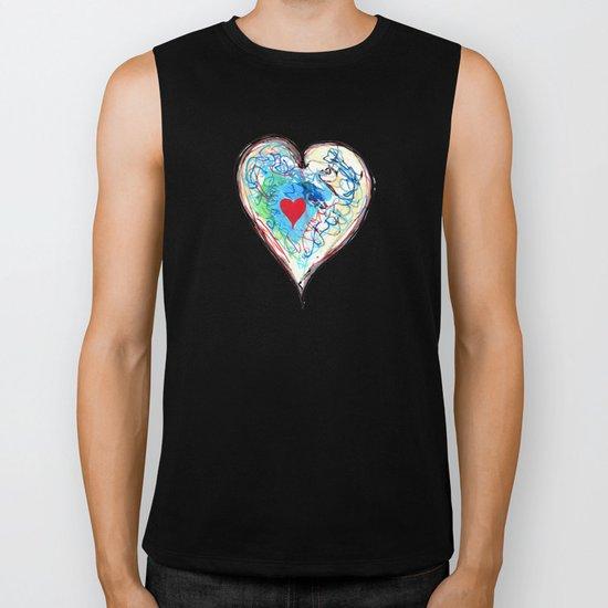 scribble heart Biker Tank