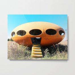 Futuro Spaceship House with Graffiti in Texas Metal Print