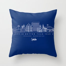 My City is Better Than Your City - Spokane, WA Throw Pillow