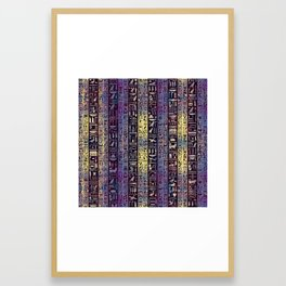Egyptian hieroglyphs on purple violet painted texture Framed Art Print