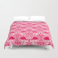damask Duvet Covers featuring Flamingo Damask by Jacqueline Maldonado