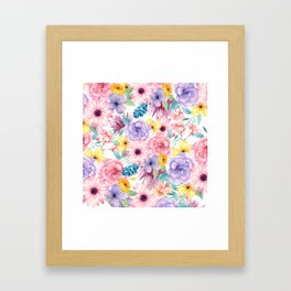 Modern elegant pink lavender yellow watercolor floral Framed Art Print