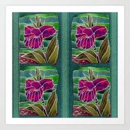 Tiled Purple Cannas Art Print