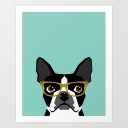 Darby - Boston Terrier pet design with hipster glasses in bold and modern colors for pet lovers Art Print