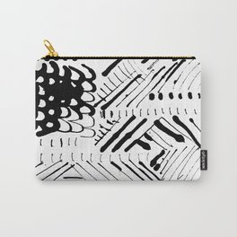 Black and White Ink Abstract Mark Making Pattern Carry-All Pouch