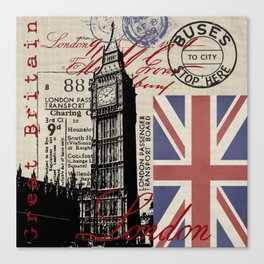 London Great Britain Big Ben Flag Collage #Society6Art Canvas Print
