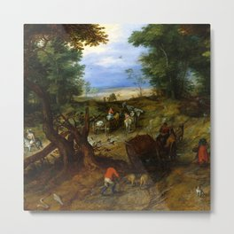 "Jan Brueghel The Elder ""A Woodland Road with Travelers"" Metal Print"