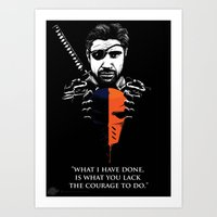 deathstroke Art Prints featuring What I Have Done by Spicy Monocle