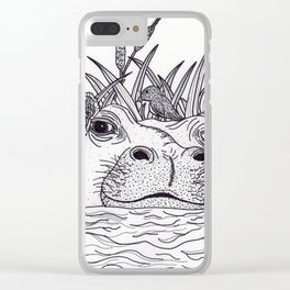 Black and White Hippo Clear iPhone Case