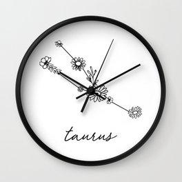 Taurus Floral Zodiac Constellation Wall Clock