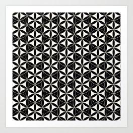 Flower of Life Pattern black-white Art Print