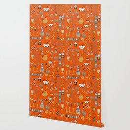 hygge cat and bird orange Wallpaper