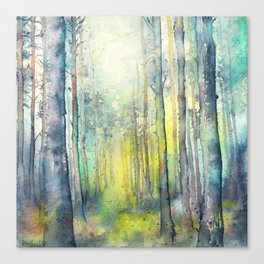 Light from above - forest painting Canvas Print
