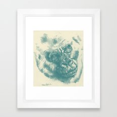 Gorilla Sketch in blue Framed Art Print