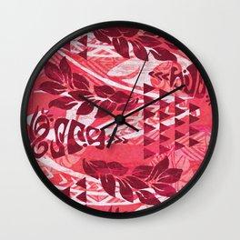 Red Tribal Tapa Print Wall Clock