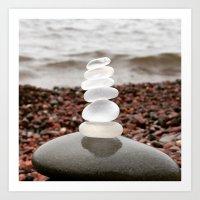 White Beach Glass Cairn Art Print