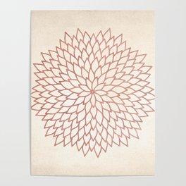 Mandala Flower Rose Gold on Cream Poster
