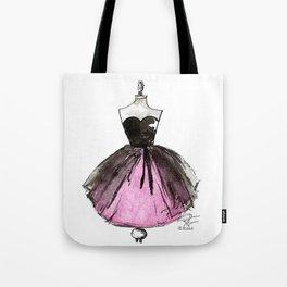 Pink and Black Sheer Dress Fashion Illustration Tote Bag
