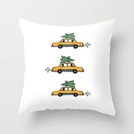 Christmas Cabs, New York Throw Pillow