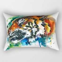 Orange Mad Tiger Watercolor Rectangular Pillow