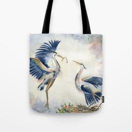 Great Blue Heron Couple Tote Bag