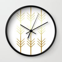 stay gold Wall Clocks featuring stay gold by Reckless Crush