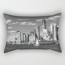 View of the Financial District from Governors Island B&W Rectangular Pillow
